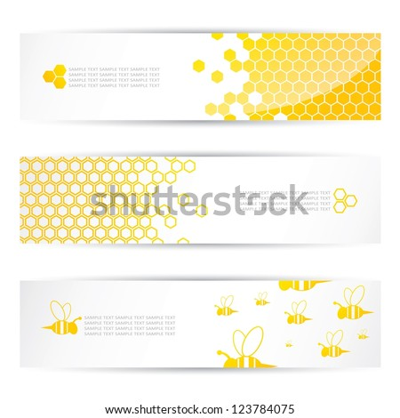 Honey and bees headers - vector illustration - stock vector