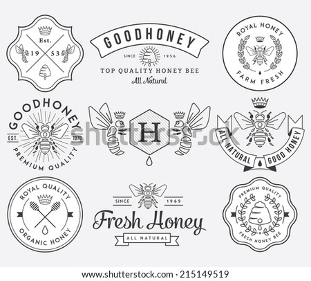 Honey and bees vector badges and labels for any use. - stock vector