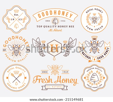 Honey and bees vector badges and labels for any use - stock vector