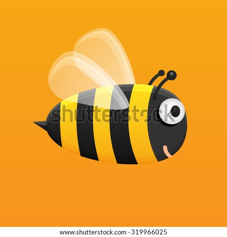 Honey bee. Cute bumble bee is flying and smiling. Big bee on orange background. Vector illustration of bee with transparent wings. Smiling fat bee on orange background. - stock vector