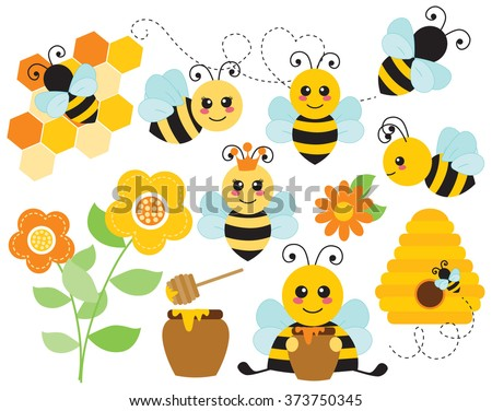 Honey Bees - stock vector
