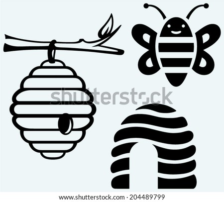 Honey bees and hive. Image isolated on blue background - stock vector