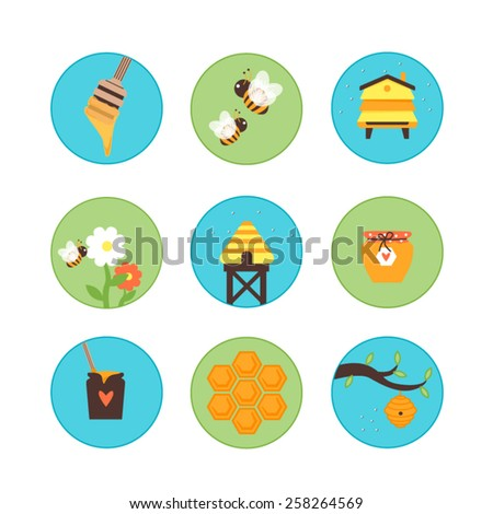 Honey bees hives set - bees, honey, flowers, jars - stock vector