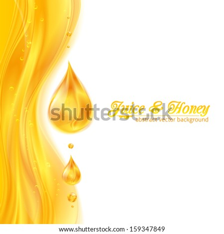 Honey colors juicy vector background with drops, leaflet template for your business presentation - stock vector