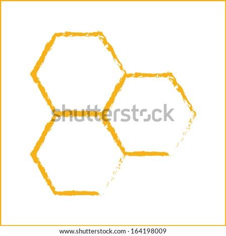 honey comb icon vector - stock vector