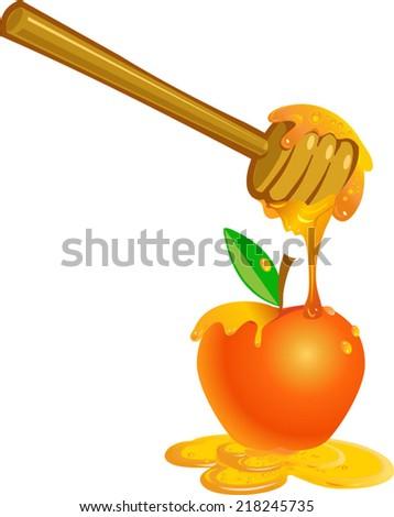Honey dipper on the bee honeycomb. Apple and honey for Rosh Hashana jewish new year - stock vector