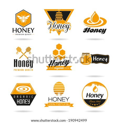 Honey icon set. - stock vector