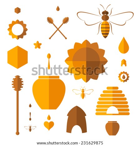 Honey. Icon set. Flat. Isolated on white background - stock vector