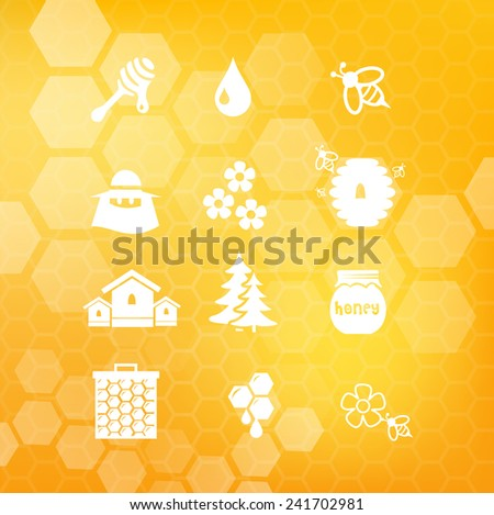 Honey icon set vector - stock vector
