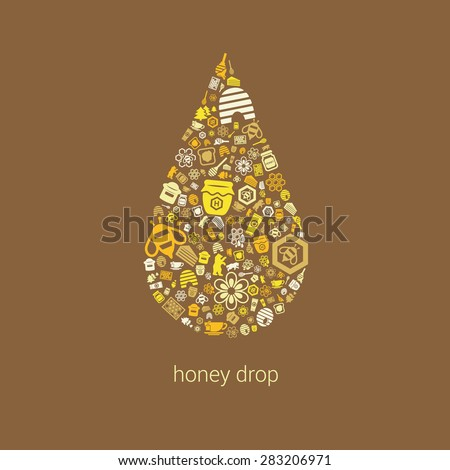 honey icons in drop - stock vector