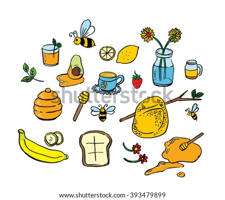 Honey icons set with bees flowers and fruit product