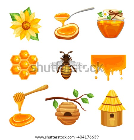 Honey isolated cartoon icon set with various elements of beekeeping and bee life vector illustration