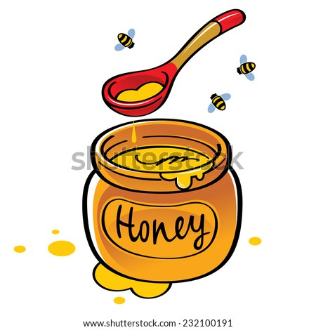 Honey jar with wooden spoon and bees - stock vector