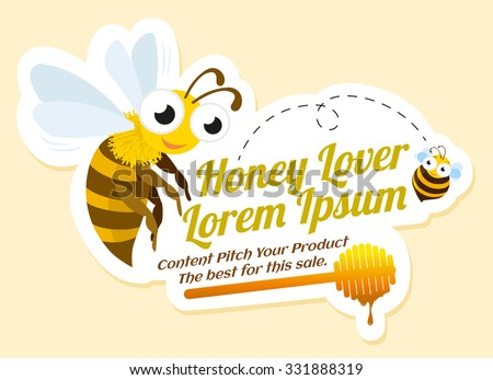 Honey lover label with bees, advertisement, vector illustration. - stock vector