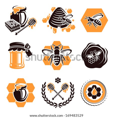 Honey set. Vector  - stock vector
