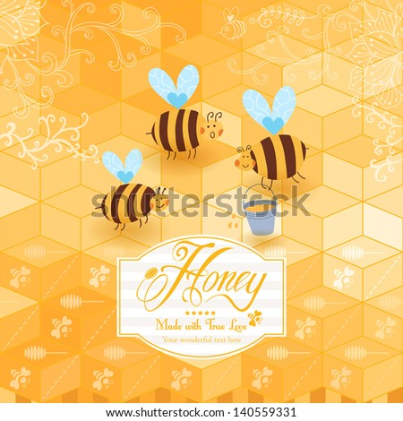 Honey template background. Vintage frame with Honey, bee, honey spoon, set template with label and yellow geometric pattern of honeycomb. Honeycomb, frame label and the funny bees. - stock vector