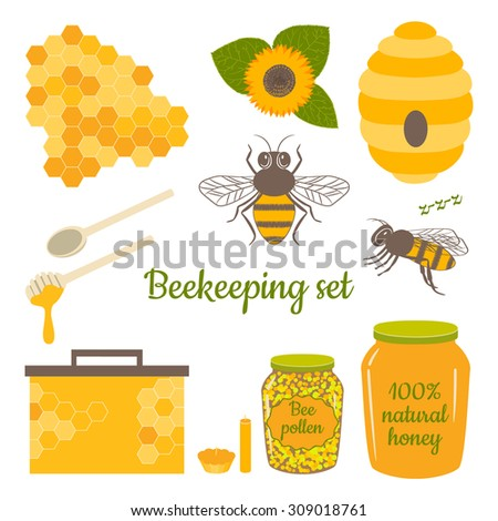 Honey vector set with bee, honeycomb, hive, honey, drip, bee pollen,beeswax candles and sunflower. Beekeeping products.