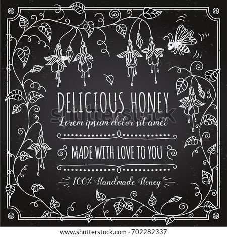 honey vintage label template on chalk board hand drawn fuchsia flower frame in black and