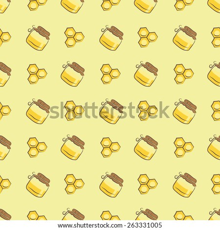 honeycomb and honey jar pattern - stock vector