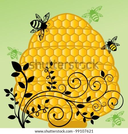 Honeycomb bee hive with flourish vine - stock vector