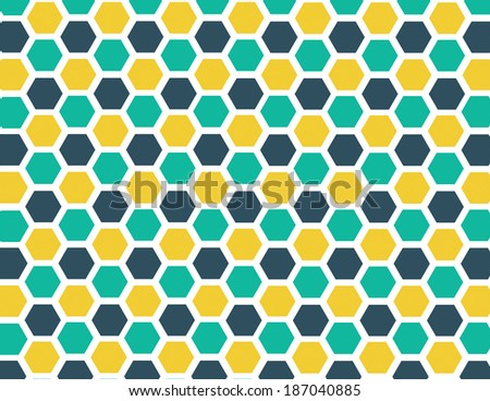 Honeycomb geometric pattern with yellow, blue, and green - stock vector