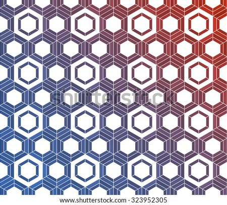 Honeycomb inspired abstract geometric vector mosaic background of hexagons in flow of colors - stock vector