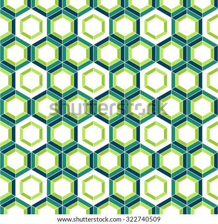 Honeycomb inspired abstract vector mosaic seamless pattern of colorful hexagons - stock vector