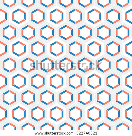 Honeycomb inspired abstract vector mosaic seamless pattern of hexagons in maritime colors - stock vector