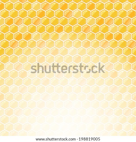 Honeycomb Invitation Card with Place for Text at the Bottom. - stock vector