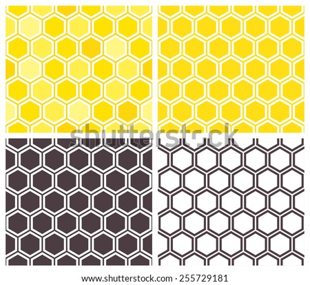 Honeycomb seamless pattern set. Abstract geometric background - stock vector