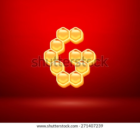 Honeycomb vector capital letter G for holiday card illustration - stock vector