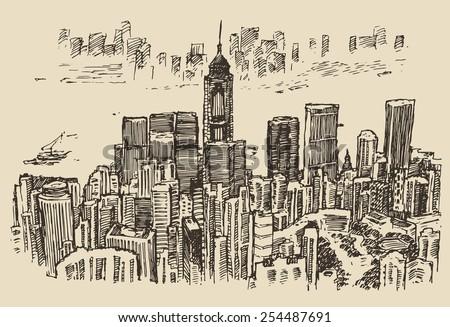 Hong Kong big city architecture, engraved illustration, hand drawn, sketch - stock vector