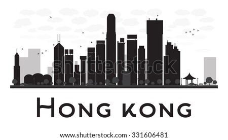 Hong Kong City skyline black and white silhouette. Vector illustration. Concept for tourism presentation, banner, placard or web site. Business travel concept. Cityscape with famous landmarks - stock vector