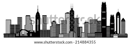 Hong Kong City Skyline Panorama Black Isolated on White Background Vector Illustration - stock vector