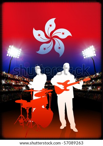 Hong Kong Flag with Live Music Band on Stadium Background Original Illustration - stock vector