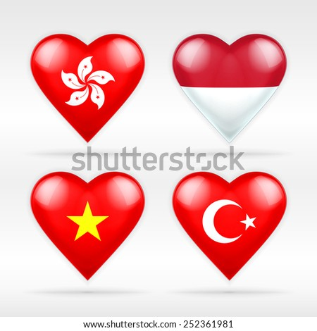 Hong Kong, Indonesia, Vietnam and Turkey heart flag set of Asian states as collection of isolated vector state flags icon elements on white - stock vector