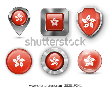 Hong Kong Metal and Glass Flag Badges, Buttons, Map marker pin and Shields. Vector illustrations - stock vector