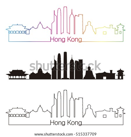 Hong Kong skyline linear style with rainbow in editable vector file
