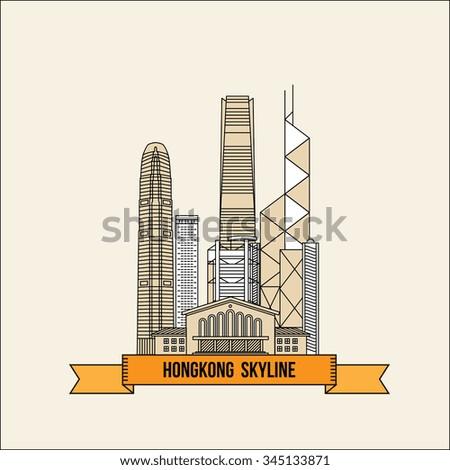 Hong Kong Skyline - Vector Illustration - stock vector