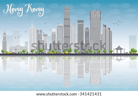 Hong Kong skyline with grey buildings and blue sky. Vector illustration. Business travel and tourism concept with modern buildings. Image for presentation, banner, placard and web site. - stock vector