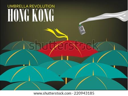 Hong Kong Umbrella Revolution concept  - stock vector