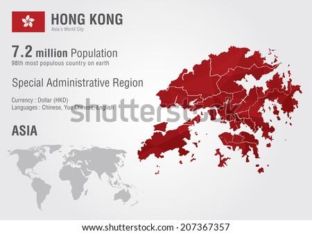 Hong Kong World Map Pixel Diamond Stock Vector 207367357