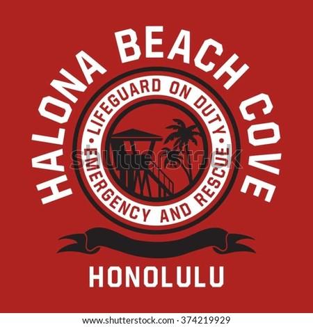 Honolulu beach lifeguard typography, t-shirt graphics, vectors - stock vector