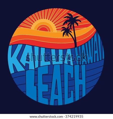 Honolulu beach typography, t-shirt graphics, vectors; surf - stock vector