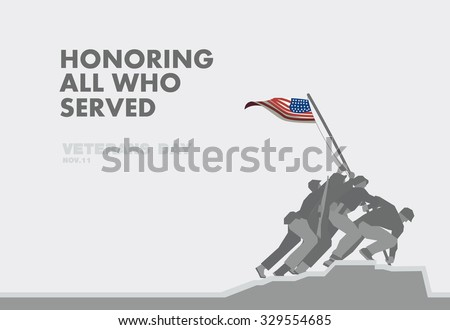 Honors Veterans day,the monument and flag flat theme design art - stock vector