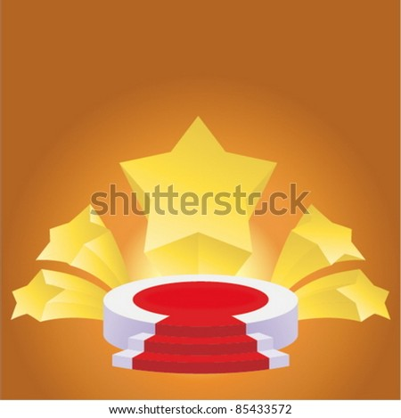 honour succeed podium  rostrum with divergent stars background - stock vector