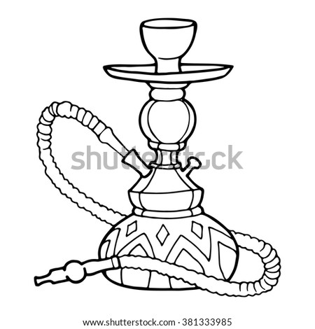 Hookah, decorative contour drawing on a white background.  - stock vector