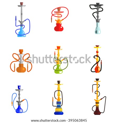 Hookah Icons set Flat Vector Illustration. Different shape and color - stock vector