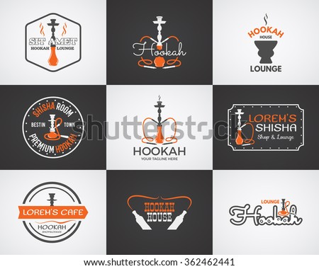 Hookah labels, badges and design elements collection. Vintage shisha logo. Lounge cafe emblem.  Arabian bar or house, shop. Isolated on two backgrounds. Vector illustration. - stock vector