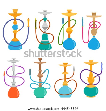Hookah set . Hookahs icons of various shapes. Collection smoking hookahs vector illustration. Arab hookahs isolated on white background - stock vector